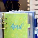 Aprile e gli inserti per agenda personal verdi